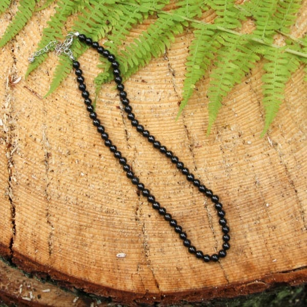 Shungite necklace with 100 round 8 mm beads