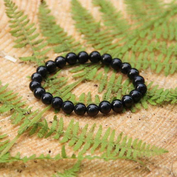 Shungite bracelet with round 8 mm beads on elastic band