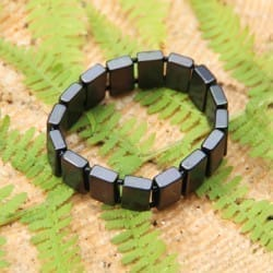 Shungite bracelet with polished rectangular beads on elastic band