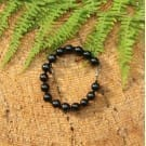 Shungite bracelet with round 9 mm beads,  black marbles and a chain snap