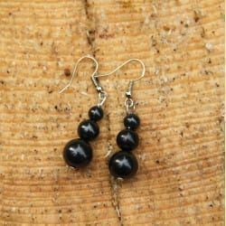 Shungite french hook earrings with three beads