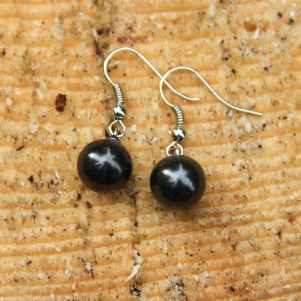 Shungite french hook earrings with a bead