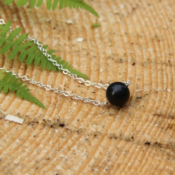 Shungite necklace on a chain with a round 12 mm shungite bead