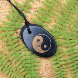 "Shungite oval pendant ""Yin and Yang"""