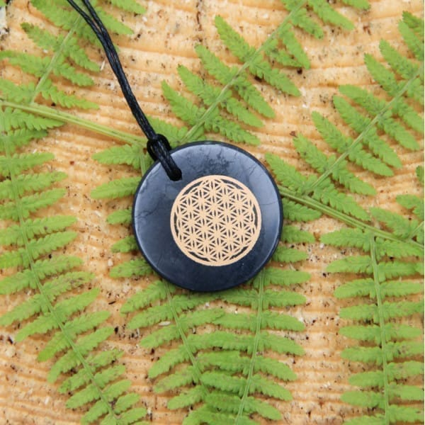 "Shungite round pendant ""Flower of Life"""