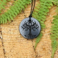 Original shungite pendant with engraving Yggdrasil