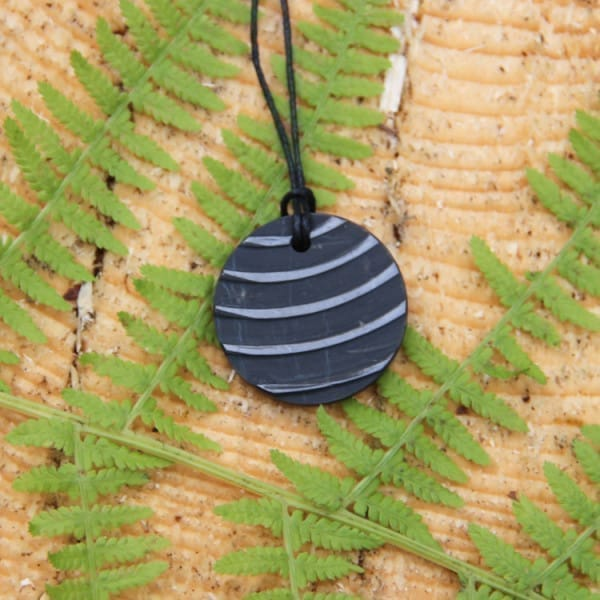 Shungite ribbed pendant