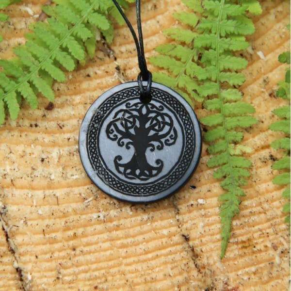 Shungite pendant for personal EMF protection Tree of life