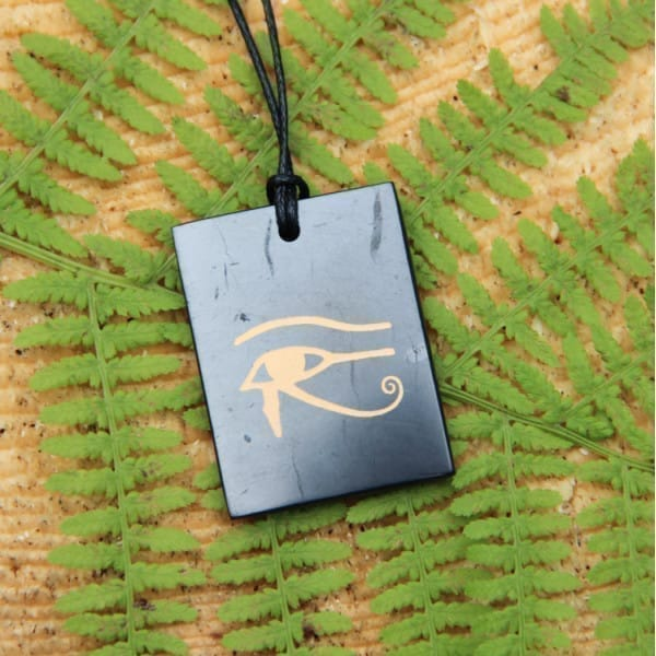 "Shungite rectangular pendant ""Eye of Horus"""