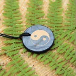 Shungite round pendant with Yin and Yang print