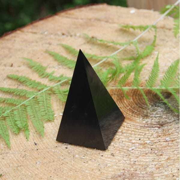 Polished shungite stone high pyramid for EMF protection