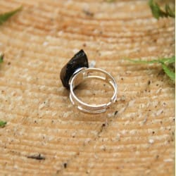 Elite shungite adjustable ring with a double silver band