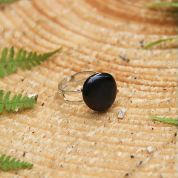 Shungite adjustable ring with a tumbled stone on a double silver band
