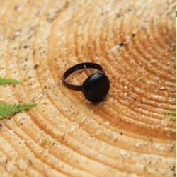 Shungite copper-plated adjustable ring with a tumbled stone