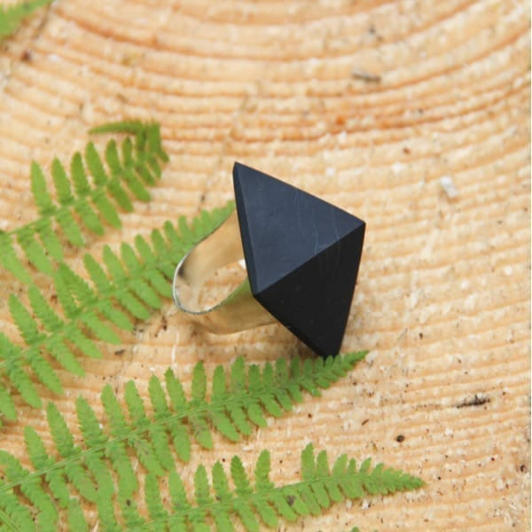 Shungite ring with a non-polished pyramid on a silver band