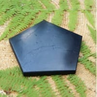Polished pentagonal shungite tile with 80 mm sides