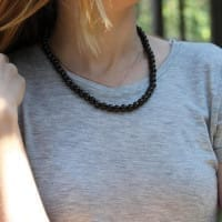 Petrovsky shungite necklace with round beads