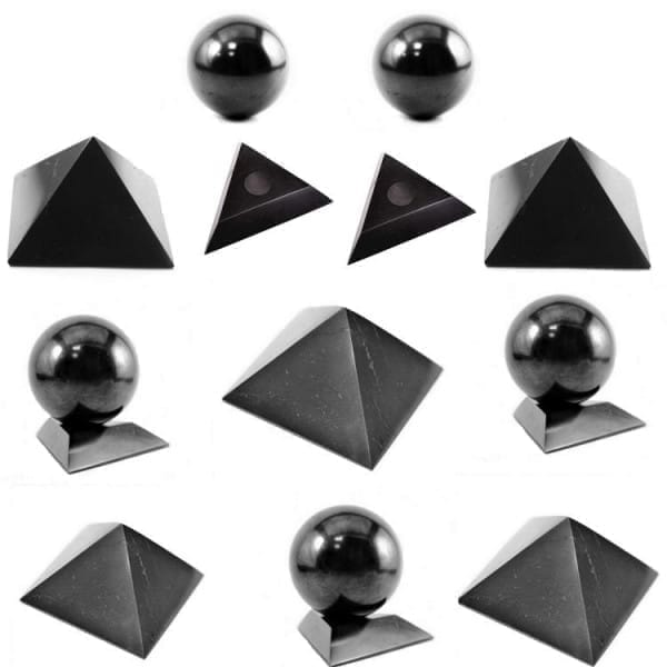 Shungite pyramids and spheres wholesale set