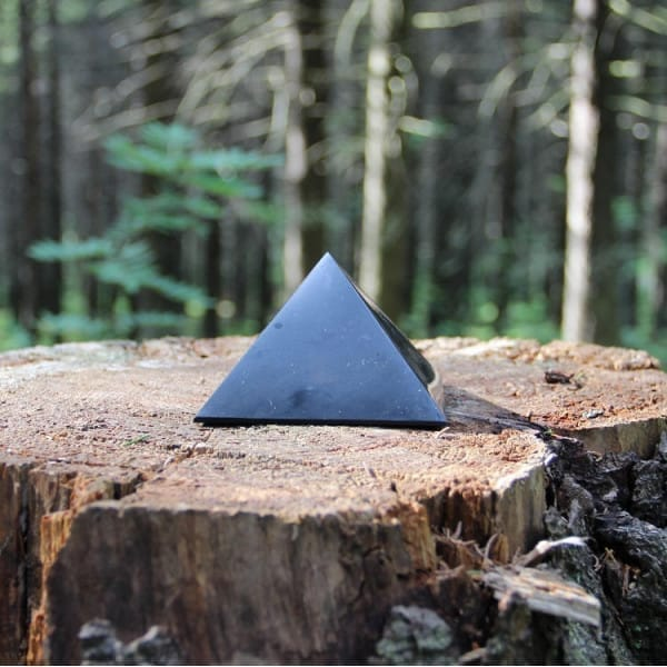 Black shungite stone pyramid for EMF protection
