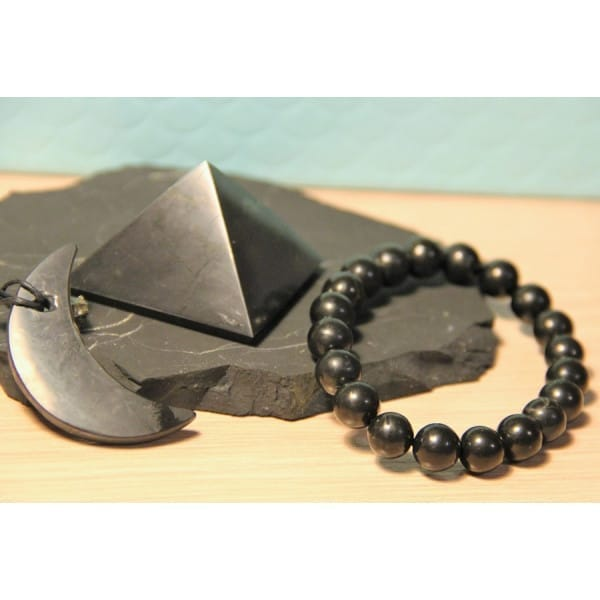 Shungite Comprehensive Protection Set: Chakra Bracelet, Crescent Pendant and EMF Pyramid