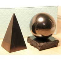 High Shungite Pyramid and Sphere on a stand set
