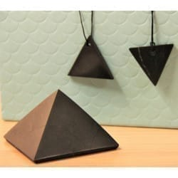 Shungite Pyramid and 2 Triangle Pendants Set