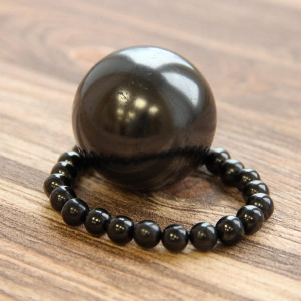 Relaxing Set of Protection Shungite Bracelet and Earth Power Shungite Sphere