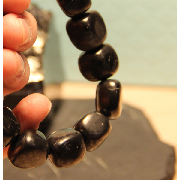 Shungite tumbled stone 8 mm beads 50 pieces