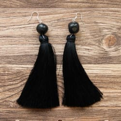 Shungite French hook earrings with tassels and big tumbled beads