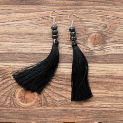 Shungite French hook earrings with rondelle beads and tassels