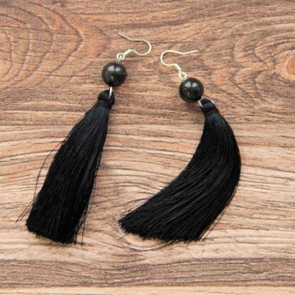 Shungite French hook earrings with a round bead and tassels