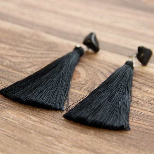 Shungite stud earrings with tumbled stones and tassels