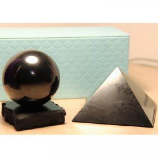Secure EMF Shield Set of Big Shungite Sphere and Pyramid