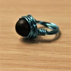 Shungite wired ring (blue)
