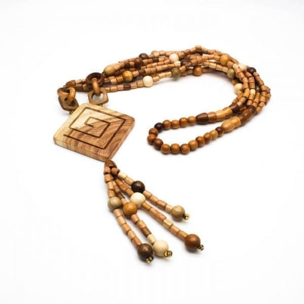 Large wood bead necklace with rhombic birch charm