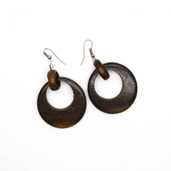 Round natural walnut wooden earrings tribal style