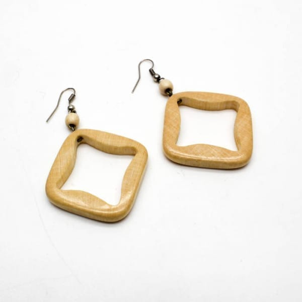 Handmade birch wood earrings with marbles