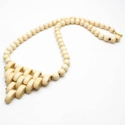 Wooden tribal necklace with healing birch beads