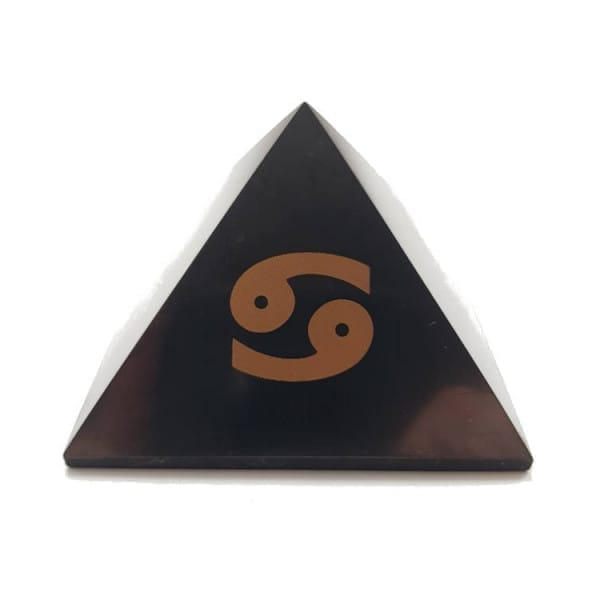 Shungite EMF protection pyramid with Cancer zodiac sign